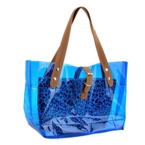 Summer Handbags Leopard Beach In Revit Bag Candy Blue Pvc Women Donalworld xUqzCwtEZw
