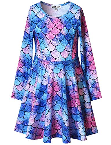 Long Sleeve Mermaid Dresses for Little Girls Kid Cotton Fall Winter Clothes 6 7