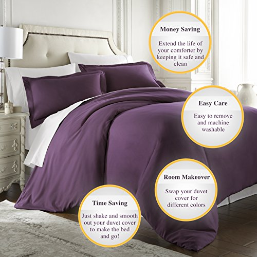 HC COLLECTION Hotel Luxury 3pc Duvet Cover Set-1500 Thread Count Egyptian Quality Ultra Silky Soft Premium Bedding Collection-King Size Eggplant