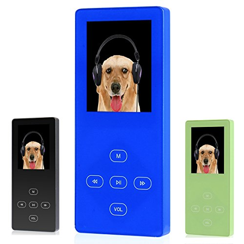 FecPecu MP3 Player, Music Player 8GB Touch Button Portable Metal Audio and Media Player Hi-Fi Sound, Build-in Speaker Expandable Up To 32GB (F55-blue)