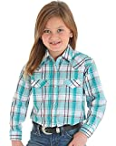 Wrangler Turquoise Plaid Long Sleeve Western Snap Shirt (X-Small)