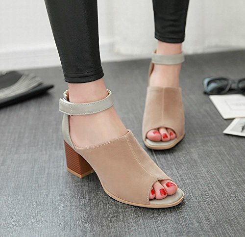 Carolbar womens hook-and-loop peep toe ankle strap summer use party chic chunky mid heel sandals Apricot iCeJ0