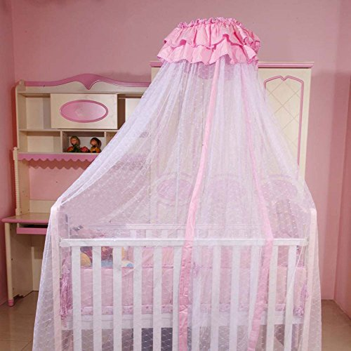 RuiHome Baby Crib Mosquito Net Princess Girls Pink Lace Bed Canopy Without Stand