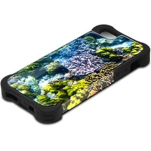 Vida Marina 10119, Design Negro Caso Carcasa Funda de Silicona Hybrid Armor Protección Case Cover con Diseño Colorido y Protector De Pantalla para Apple Iphone 5 5S.