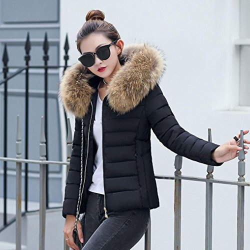 Sottile Piumino Moda Solido Soprabito Mml Inverno Cappotto Cappuccio Donne Caldo Con Spessore Nera Della 1gfYYq