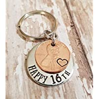 Happy 16th Birthday Gift with a Lucky 2004 Penny Copper Coin Key Chain