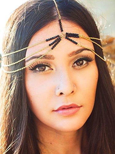 [Hypnotique 3 Layer Black Star Head Chain] (Hindu Bride Costume)