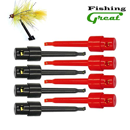 Greatfishing Long Tip Hackle Pliers, Fly Hook Hackle Pliers, Flies Lures Or Hooks Display, Feather Clips Rapping Hackle Tools for Fly Fishing Nymph Flies (B: 8pcs Hook Hackle Pliers Combo)