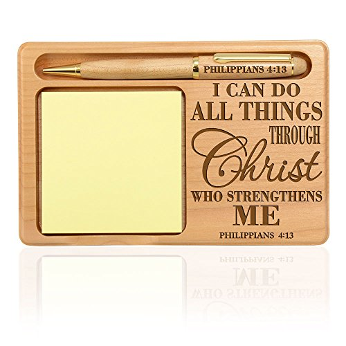 Kate Posh - Philippians 4:13 - I can do all things through Christ who strengthens me Wooden Notepad & Pen Holder by Kate Posh