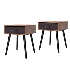 IWELL Mid-Century Nightstand Set of 2, Wooden End Table with Drawer, Side Table for Small Spaces & Bedroom, Solid Wood Legs Decent Furniture, Rustic Brown BZX005F2