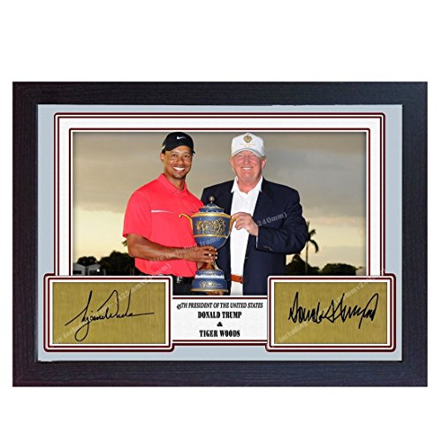 (S&E DESING Tiger Wood President Donald Trump Signed Autograph Golf Photo Print Framed)