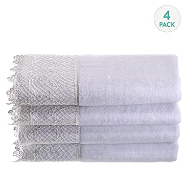 Creative Scents Fingertip Towels For Bathroom (11x18 inches) Towel Set of 4, Soft Velour Finish, Gorgeous Lace Trim, 100% Cotton, Machine Washable, Perfect for Guest Bathroom! (White)