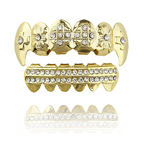 LuReen 14k Gold Teeth Grills Cross CZ Vampire Fang Top with 2 Rows Bar Bottom Set -
