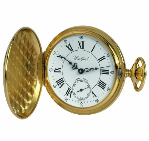 0e63f17a8461 Woodford Swiss-Made Mechanical Full-Hunter Pocket Watch, 1009, Men's Deep  Gold-Plated Separate Second-Hand Dial with Chain (Suitable for Engraving):  ...