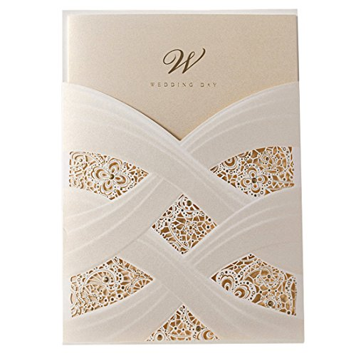 - Wishmade Ivory Laser Cut Wedding Invitations Cards kits With Lace Sleeve Flower Pocket Design Cardstock 50 Pieces for Bridal Shower (pack of 50pcs)