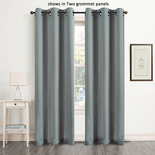 FlamingoP Microfiber Noise Reducing Thermal Insulated Solid Ring Top Blackout Window Curtains / Drapes (Single Panel, 42 x 84 Inch, Gray)