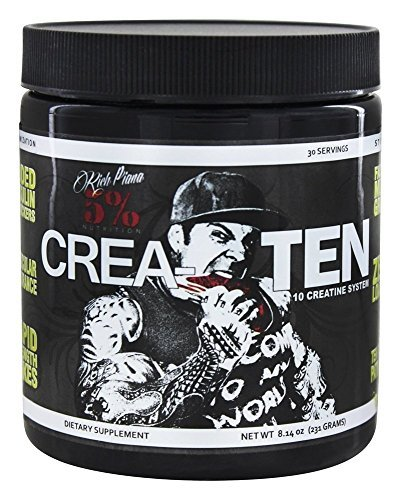 Rich Piana 5% Nutrition CreaTEN 10 Creatine System (Lemon Lime) 8.14oz (231 GRAMS) 30 Servings