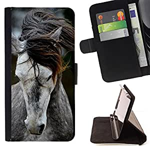 - pony horse mane beautiful animal grey - - Prima caja de la PU billetera de cuero con ranuras para tarjetas, efectivo desmontable correa para l Funny HouseFOR Apple Iphone 6