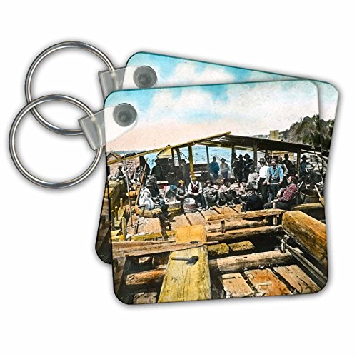 6 Man Life Raft - Scenes from the Past Magic Lantern Slides - Vintage Life on a Lumber Raft Camp in Oregon Hand Colored - Key Chains - set of 6 Key Chains (kc_269896_3)