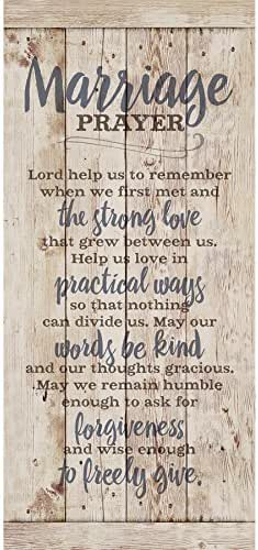 Marriage Prayer Wood Plaque Inspiring Quote 5.5x12 - Classy Vertical Frame Wall Hanging Decoration | Lord, Help us to Remember When we First met | Christian Family Religious Home Decor Saying