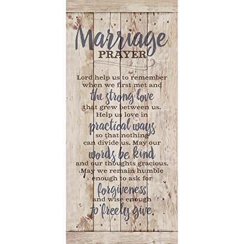 Religious Bridal Set - Marriage Prayer Wood Plaque Inspiring Quote 5.5x12 - Classy Vertical Frame Wall Hanging Decoration | Lord, Help us to Remember When we First met | Christian Family Religious Home Decor Saying