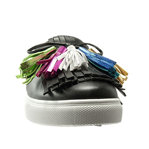 Angkorly - Chaussure Mode Baskets slip-on basse femme frange pom-pom Talon plat 0 CM - Noir