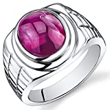Mens 8.00 Carats Oval Cabochon Created Ruby Ring In Sterling Silver With Rhodium Nickel Finish Sizes 8 To 13