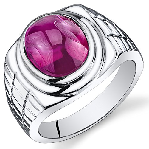 Mens 8.00 Carats Oval Cabochon Created Ruby Ring In Sterling Silver With Rhodium Nickel Finish Size ()