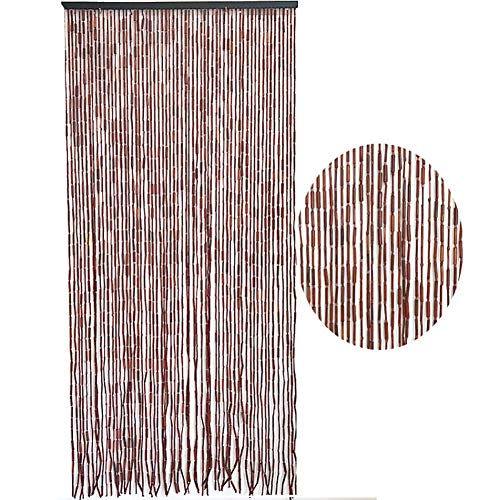 GuoWei 60 Strands Beaded Curtains Bamboo Wood for Doorway Passage for Room Divider Home Decor Retro Door Curtain, Customizable (Color : A, Size : 90X200CM)