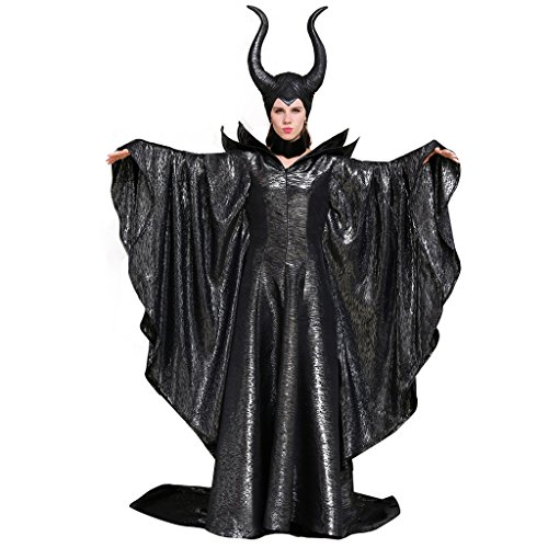 CosplayDiy Women's Costumes of Maleficent Angelina Jolie Dark Witch Queen Dress XL Black -