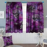 Anniutwo Skull Thermal Insulating Blackout Curtain Horror Movie Thirller Themed Flying Skull Heads Halloween in Outer Space Image Patterned Drape For Glass Door 63'' W x 45'' L Black and Purple