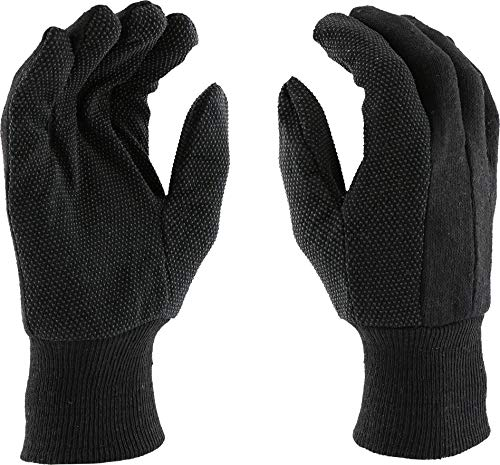 West Chester 750PD Standard Poly Cotton Jersey Gloves with Dots, Large, Brown