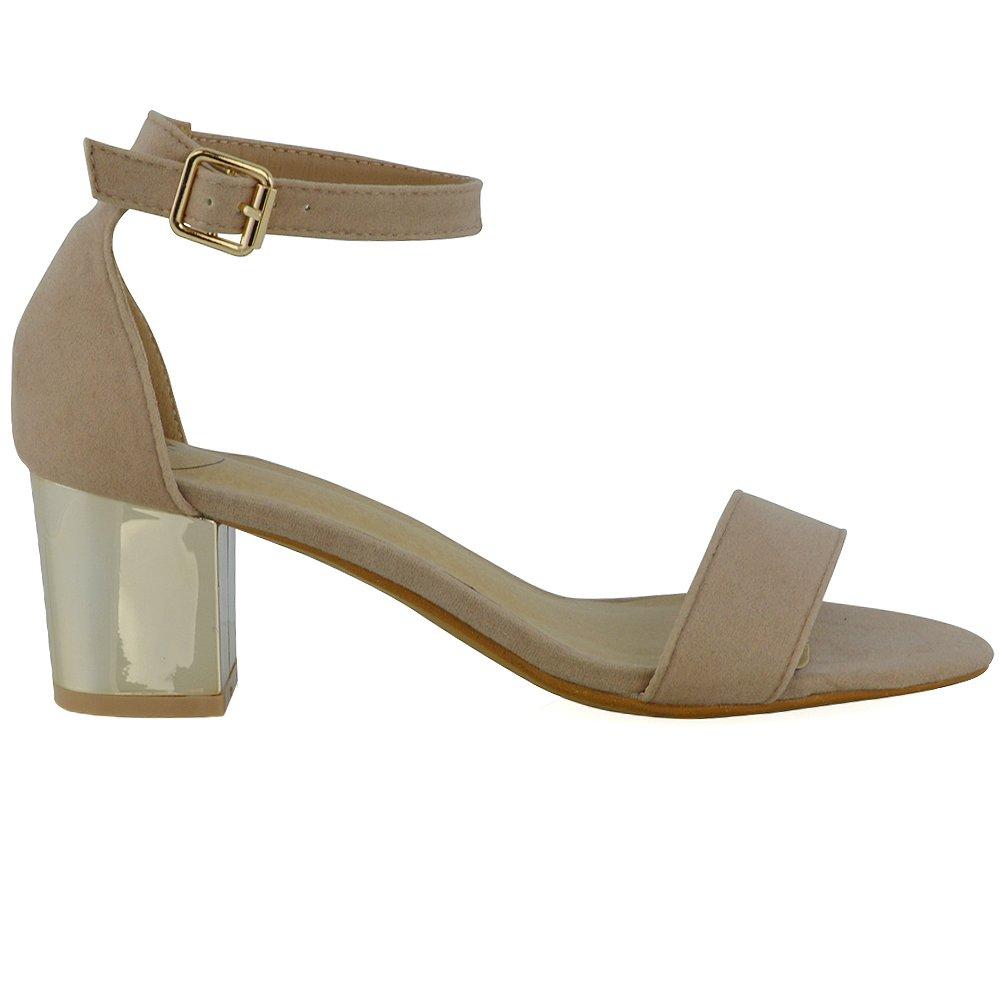 ESSEX GLAM Sandalo Donna Sintetico Peep Toe Cromato Cinturino Caviglia  Tacco Medio: Amazon.it: Scarpe e borse
