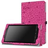 MoKo Case for Fire 7 2015 - Slim Folding Cover for Amazon Fire Tablet (7 inch Display - 5th Generation, 2015 Release Only), Cutie Charm MAGENTA
