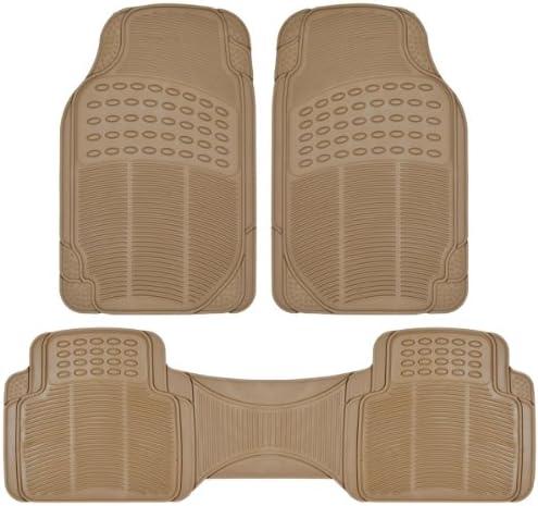 BDK Front and Back ProLiner Heavy Duty Rubber Floor Mats for Auto, 3 Piece Set – Tan Beige
