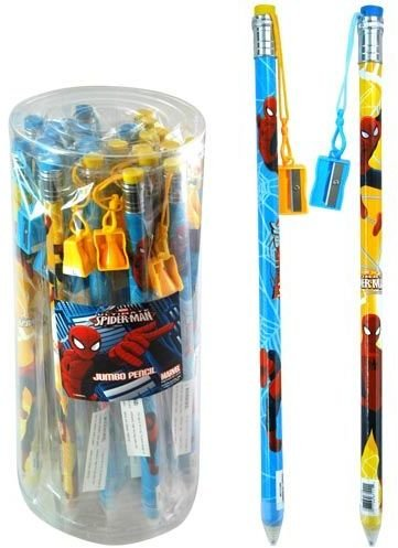 Spiderman 2 Pack Jumbo Pencils with Pencil Sharpener (Spider Man Pencil Sharpener)