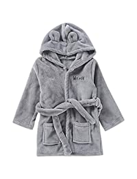 Lisin Toddler Kids Baby Solid Bathrobe Cotton Plush Hooded Bath Robe Towel Pajamas