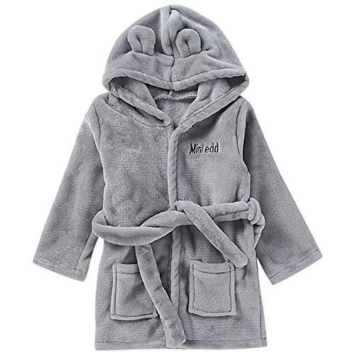 NUWFOR Toddler Kids Baby Solid Bathrobe Cotton Plush Hooded Bath Robe Towel Pajamas(Gray,18-24 Months)