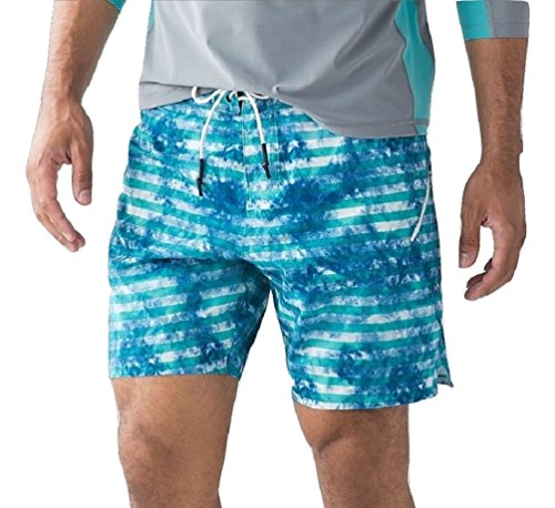 Lululemon Mens El Current Board Short Swim Suit (Tidal Stripe White Arctic Teal, - Mens Lululemon Shorts Swim