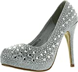 Top Moda Womens Mango-25 Rhinestone Studded Sparkling Platform Stiletto Heel Dress Pumps,Silver,5.5