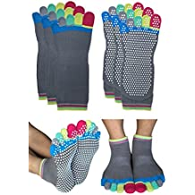 Deluxe Non Skid Anti Slip Yoga Barre Pilates Socks with Grips for Women