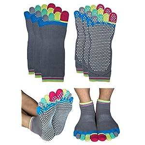 RATIVE Non Skid Anti Slip Full Toe Yoga Barre Pilates Socks With Grips For Mens Womens