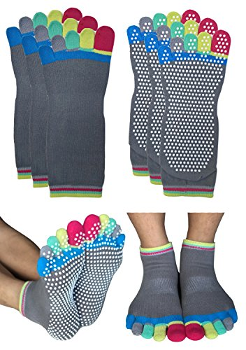 Deluxe Non Skid Anti Slip Full Toe Yoga Barre Pilates Socks with Grips for Mens Womens Large (3-Pair: Grey Full Toe, L: Shoe Size 9-11)