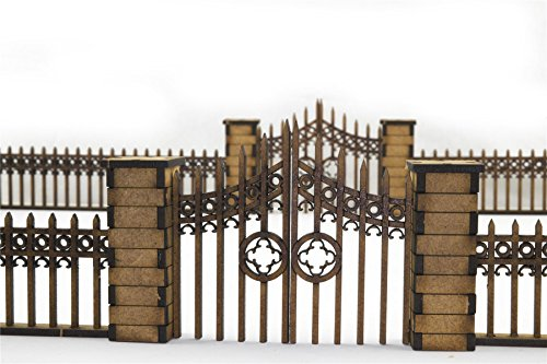 War World Gaming Gothic Fence with Gates and Pillars by WWG