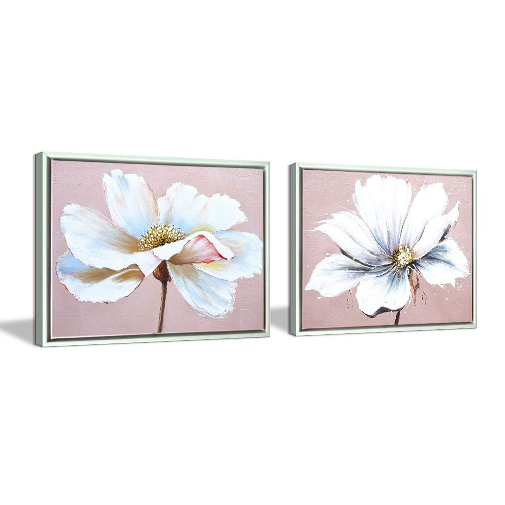 Flower Wall Art Decor Modern Framed Floral Canvas Painting Picture with Hand Painted Texture for Living Room Bedroom Bathroom Girl Room White and Pink 12x16 x 2 Piece/Set Aitesi Art