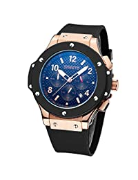 Men's Luxury Watches Chronograph 24 Hr Indicator Military Sports Watches Silicone Band