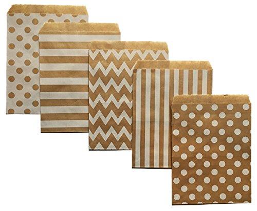 Brown Kraft Paper Party Treat Bags 60 Count 5x7 Chevron Stripe Polka Dot W/ Clear (Halloween Paper Bag Designs)