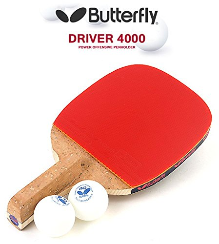 Butterfly DRIVER 4000 Table Tennis Racket Penholder Paddle Ping Pong Racket & Ball 2 (pcs) by Butterfly DRIVER 3000 (For offensive player)