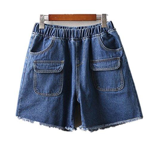 in Oudan Dark con pantaloncini grandi Jeans donna dimensioni vita Pantaloncini da Elastico vintage in blue di 6twqt4r