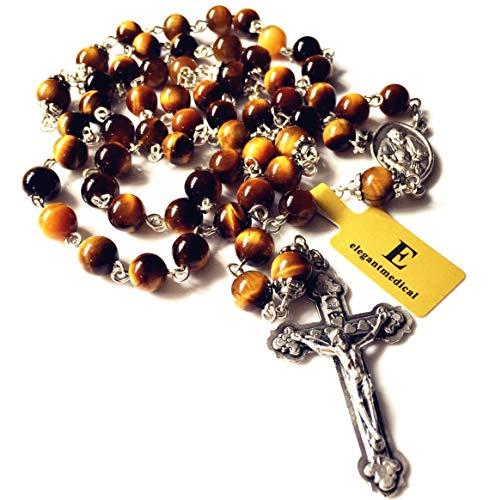(elegantmedical Handmade Tiger Eye Jade Rosary Beads Cross Crucifix Catholic Necklace Box)